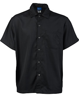 Lightweight Snap Front Cook Shirt, Black