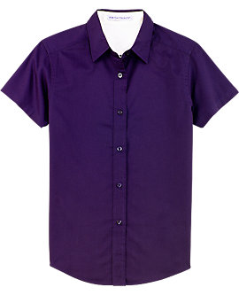 Womens Wrinkle Resistant Dress Shirt, Short Sleeve