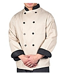 Light Taupe Executive Chef Coat with Black Contrast, Clearance