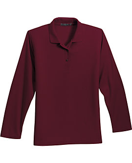 Womens Soft Touch Pique Sport Shirt, Long Sleeve