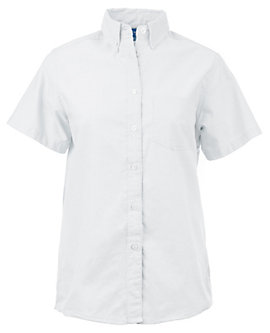 KNG® Womens Longer Tail Short Sleeve Oxford Shirt