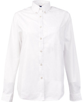 KNG® Womens Longer Tail Long Sleeve Oxford Shirt