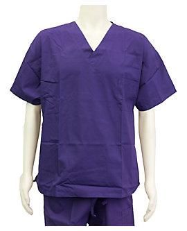 Purple Unisex V Neck Scrub Shirt, Clearance
