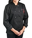 Womens Black Classic Long Sleeve Chef Coat