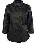 Women's Black Classic Long Sleeve Chef Coat