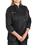 Womens Black Classic ¾ Sleeve Chef Coat