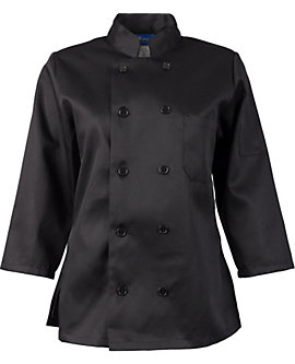 Women's Black Classic ¾ Sleeve Chef Coat
