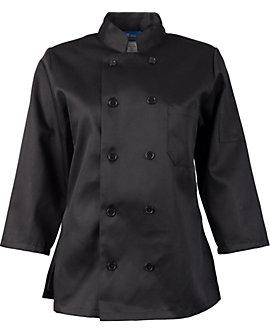 Women's Black Classic ¾ Sleeve Chef Coat