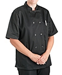 Womens Black Classic Short Sleeve Chef Coat