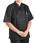 Womens Black Classic Short Sleeve Chef Coat