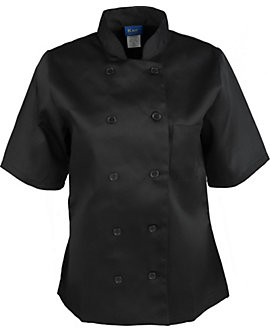 Women's Black Classic Short Sleeve Chef Coat