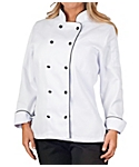 Womens Executive Chef Coat with Black Piping