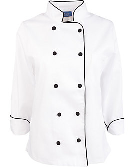 Women's Executive Chef Coat with Black Piping