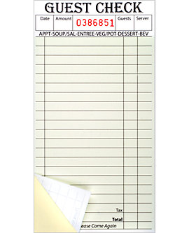 Stapled, 3⅜ x 6¾, 2 Part Guest Checks, Soft Sheet, per 2,000