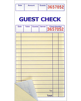 3⅜ x 6½, Soft Sheet, 2 Part Guest Checks
