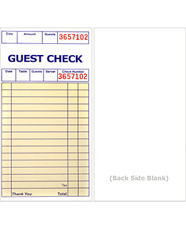 Padded, 3⅜ x 6½, 1 Part Guest Checks, Soft Sheet, (per 500)