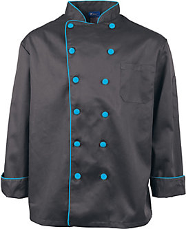 Executive Chef Coat with Contrast Piping and Buttons