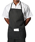 3 Pocket Chalk Stripe Bib Apron, 27 inch Rounded Corners