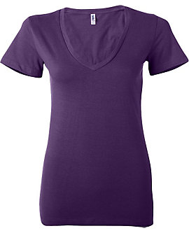 Junior Ladies Deep Vee Tee, 4.2oz