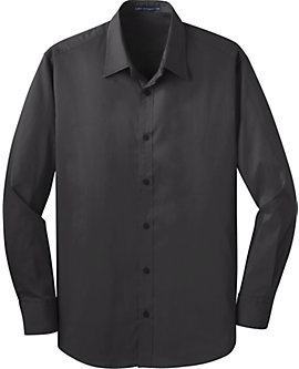 Mens Stretch Poplin Solid Dress Shirt