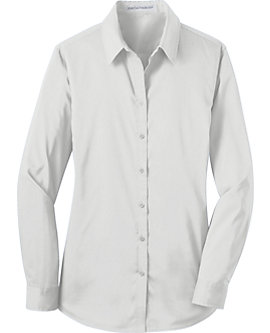 Womens Stretch Poplin Solid Dress Shirt