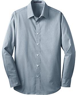 Mens Stretch Poplin Striped Dress Shirt