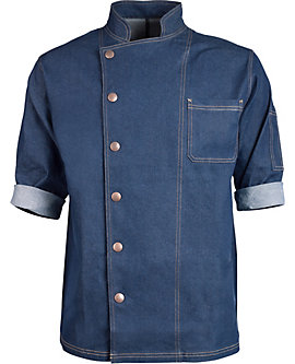 Denim Snap Front Chef Coat