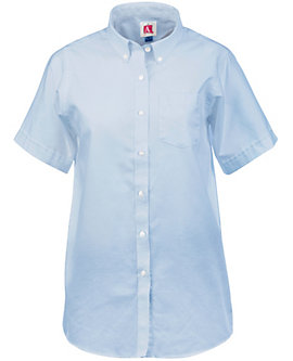 Womens Short Sleeve Oxford Blouse