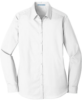 Womens Port Authority Carefree Poplin Shirt, Long Sleeve
