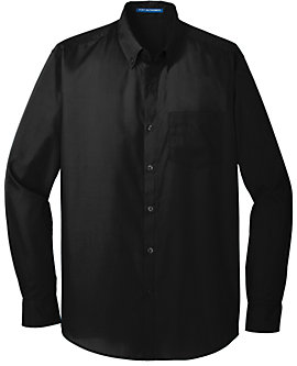 Mens Port Authority Carefree Poplin Shirt, Long Sleeve