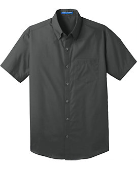 Mens Port Authority Carefree Poplin Shirt, Short Sleeve