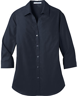 Womens Port Authority Carefree Poplin Shirt, 3/4 Sleeve