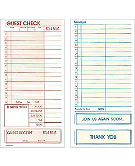 "RDW Off-Spec, Single, Standard, 4¼"" by 8½"", Guest Checks"