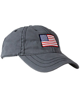 Thick Stitch Ball Cap with Flag Embroidery