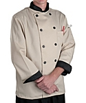 Light Taupe Executive Chef Coat with Black Contrast