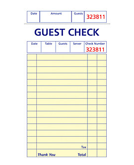 3⅜ x 6½, Soft Sheet, 1 Part Guest Checks