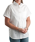 Womens Longer Tail Short Sleeve Oxford Shirt