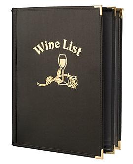 4 View Book Style Fine Bistro Wine List, 8½ x 11 (Letter)