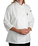 Womens White Classic ¾ Sleeve Chef Coat