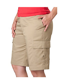 Womens Flat Front Cargo Shorts