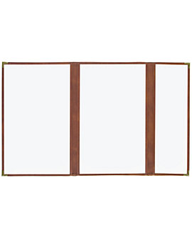 (PKG of 10) Double + Half Cafe Menu Cover, 8½x14, Brown