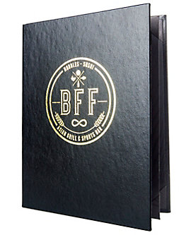 4 View Book Style Premium Plus Bonded Leather Casebound Menu