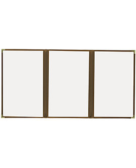 (PKG of 10) Triple Pocket Cafe Menu Cover, 8½x14, Brown