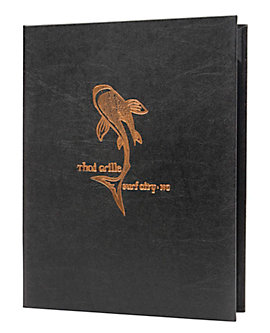 (MIN 25) Double Pocket Value Leatherette Casebound Menu, 8½ x 11, Black