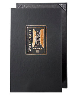 Single Pocket Value Leatherette Casebound Menu, 8½ x 14, Black